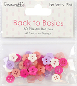 Perfectly Pink - Dovecraft Back To Basics Plastic Buttons 60/Pkg