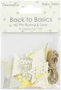 Baby Steps - Dovecraft Back To Basics Mini Bunting & Twine 60/Pkg