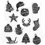 Mini Carved Christmas Tim Holtz Cling Stamps