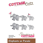 "Elephants On Parade 4.5""X1.6"" - Cottagecutz Die"