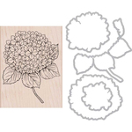 Large Hydrangea - Hero Arts Mounted Rubber Stamp & Die Combo