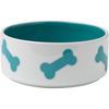 Turquoise - PetRageous Designs Kool Bones Bowl - Holds 3.5 Cups Hand-crafted stoneware in a variety of patterns, colors and sizes. Dishwasher and microwave safe. This package contains one pet bowl that holds 3.5 cups. Comes in a variety of designs. Each sold separately. Imported.