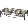 Jamaica - PetRageous Designs Double Diner - Holds 3.5 Cups Each This elevated dining set stops dogs of all ages from straining their necks and shoulders. It makes it eating and drinking easier for older, arthritic dogs. This package contains one 13.5x3.25x6.75 inch diner with two 3.5 cup bowls. Bowls are dishwasher safe. Imported.