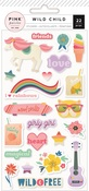 Girl Puffy Stickers - Wild Child - Pink Paislee