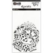Black & White Birds & Flowers Dylusions Creative Dyary Die Cuts