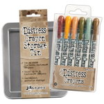 Tim Holtz Distress Crayon Tin + Distress Crayon Set #10 Bundle