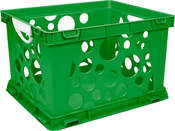 "Green - Premium Classroom File Crate W/Handles 17.25""X14.25""X10.5"""