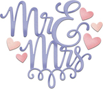 "Mr & Mrs With Hearts 3.2""X2.8"" - CottageCutz Dies"