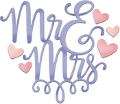 """Mr & Mrs With Hearts 3.2""""X2.8"""" - CottageCutz Dies"""