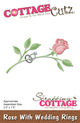 "Rose With Wedding Rings 2.5""X1.5"" - CottageCutz Die"