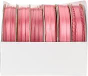 Coral Rose - Spool O' Ribbon Woven Edge Solid Assortment 24/pkg