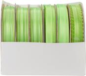 Neon Green - Spool O' Ribbon Woven Edge Solid Assortment 24/pkg