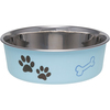 Murano Blue - Bella Bowl Classic-Small Loving Pets Products-Merlot Bella Bowl. Pawprints and bones imprints in the background are a great design for cats, dogs or any pets! Size Small has no bone imprint. Vet recommended stainless steel to resist bacteria. Removable rubber base prevents skids, spills and noise. Dishwasher safe (remove rubber ring before washing). This package contains one 1-pint pet dish. Imported.