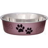 Grape - Bella Bowl Metallic-Medium Loving Pets Products-Bella Bowl. Pawprints and bones imprints in the background are a great design for cats, dogs or any pets! Size Small has no bone imprint. Vet recommended stainless steel to resist bacteria. Removable rubber base prevents skids, spills and noise. Dishwasher safe (remove rubber ring before washing). This package contains one 1-quart pet dish. Imported.