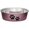 Grape - Bella Bowl Metallic-Large Loving Pets Products-Metallic Bella Bowl. Pawprints and bones imprints in the background are a great design for cats, dogs or pets! Size Small has no bone imprint. Vet recommended stainless steel to resist bacteria. Removable rubber base prevents skids, spills and noise. Dishwasher safe (remove rubber ring before washing). This package contains one 2-quart pet dish. Imported