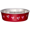Hearts - Valentine Red - Bella Bowl Expressions-Large Loving Pets Products-Metallic Bella Bowl. Pawprints and bones imprints in the background are a great design for cats, dogs or any pets. Vet recommended stainless steel to resist bacteria. Removable rubber base prevents skids, spills and noise. Dishwasher safe (remove rubber ring before washing). This package contains one 2-quart pet dish. Imported