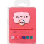 "Coral Edition - Project Life 3""X4"" Textured Cardstock 60/Pkg"