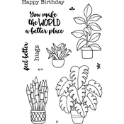 "Plants - Jane's Doodles Clear Stamps 4""X6"""