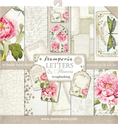 """Letters & Flowers, 10 Designs/1 Each - Stamperia Double-Sided Paper Pad 12""""X12"""" 10/Pkg"""