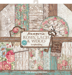 """Roses, Lace & Wood; 10 Designs/1 Each - Stamperia Double-Sided Paper Pad 12""""X12"""" 10/Pkg"""