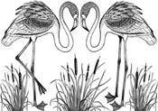 "Pretty Flamingos - Crafty Individuals Unmounted Rubber Stamp 3.75""X5.5"" Pkg"