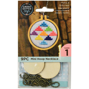 Circle W/ Ball Chain - Mini Embroidery Hoop Necklace Punched For Cross Stitch