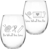 Do What You Love - Knit Happy Barrel Shaped Glass 21oz This barrel shaped glass is perfect for use as a stemless wine glass or for any other beverage. Features an etched look. Upper rack dishwasher safe. Hand washing recommended. This package contains one 21oz glass. Made in USA.
