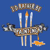 I'd Rather Be Painting - Attitude Artist Apron Blue