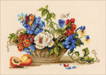 """11.75""""X9.5"""" 15 Count - Still Life With Peach Counted Cross Stitch Kit"""