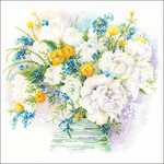 """11.75""""X11.75"""" 14 Count - Watercolor Peonies Counted Cross Stitch Kit"""