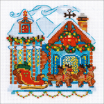 """6""""X6"""" 14 Count - Cabin With Sleigh Counted Cross Stitch Kit"""