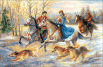 """23.5""""X15.75"""" 14 Count - Russian Hunting Counted Cross Stitch Kit"""
