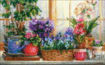 "15.75""X9.75"" 14 Count - Windowsill With Flowers Counted Cross Stitch Kit"
