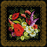 "15.75""X15.75"" 14 Count - Zhostovo Painting Cushion Counted Cross Stitch Kit"