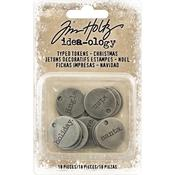 Christmas Words & Numbers Idea-Ology Metal Typed Tokens