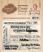 "Birthday Sentiments 002 - DreamerlandCrafts Clear Stamp Set 3""X4"""