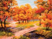 Autumn Landscape - Collection D'Art Stamped Cross Stitch Kit 37X49cm