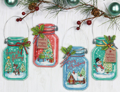 """7.5"""" Set Of 4 - Christmas Jar Ornaments Counted Cross Stitch Kit"""