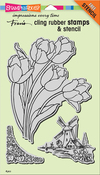 """Dutch Tulips - Stampendous Cling Stamps & Stencil 9""""X5.25"""""""