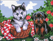 Doggie Friends - Collection D'Art Stamped Needlepoint Kit 22X30cm