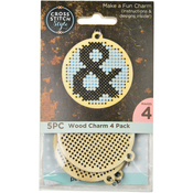 4/Pkg - Wood Circle Punched For Cross Stitch
