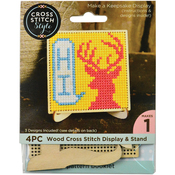 Square Wood Display W/Easel Punched For Cross Stitch