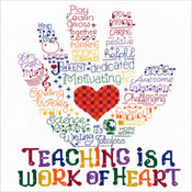 """10""""X8.5"""" 14 Count - Let's Hug A Teacher Counted Cross Stitch Kit"""