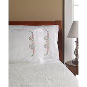 """Floral Scroll - Stamped Embroidery Pillowcase Pair 20""""X30"""""""