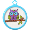 3  Round 14 Count - My 1st Stitch Owl On A Limb Mini Counted Cross Stitch Kit My 1st Stitch Mini Counted Cross Stitch Kits are a series of cross stitch designs that are fresh & fun mini designs. Ideal for beginners. Included are easy to learn instructions with how-to steps showing you how its done. Beginner stitchers can create a quick and easy project. This package contains 14 count aida cloth, 3 inch round frame, nine pre-sorted cotton floss bobbins, needle, instructions and easy to read chart. Finished size: 3 inch. Design: Owl On A Branch. WARNING: Choking Hazard. Not suitable for children under 3 years. Imported.