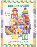 "11""X14"" 14 Count - Toys Sampler Birth Record Counted Cross Stitch Kit"