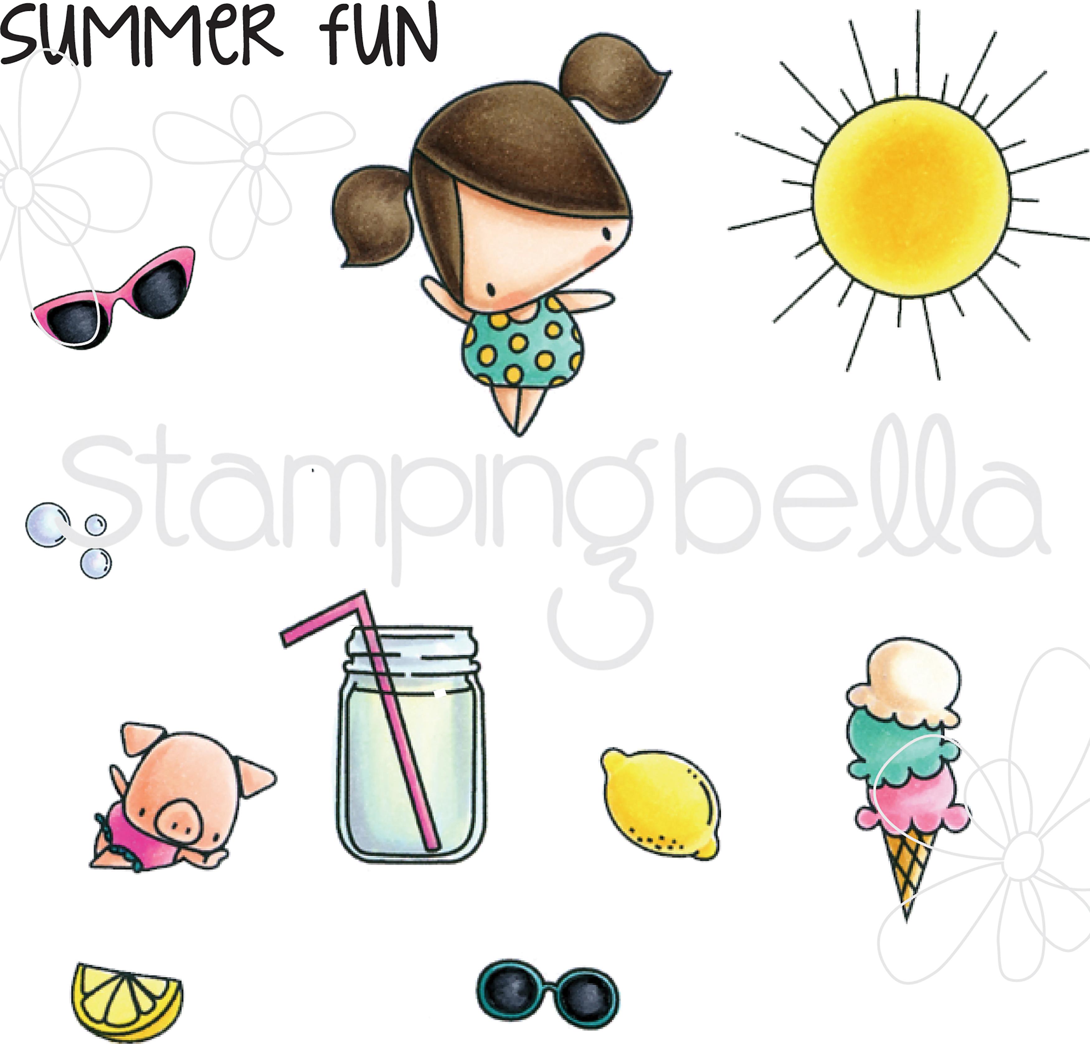 Ice Cream & Lemonade - Stamping Bella Little Bits Cling Stamp Set