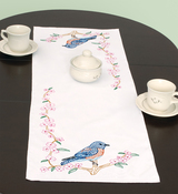 """Bluebird - Stamped Table Runner/Scarf 15""""X42"""""""