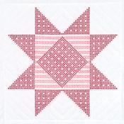 "XX Gingham Star - Stamped White Quilt Blocks 18""X18"" 6/Pkg"