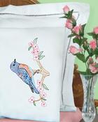 Bluebird - Stamped Pillowcases W/White Perle Edge 2/Pkg